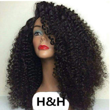 Wholesale virgin brazilian human hair kinky curly full lace wig, glueless full lace 100% human hair wig