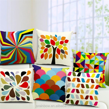 new designs beautiful in colors high quality geometry triangle oblong linen cotton cushion covers/chair sofa cushion cover