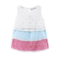 Popular lace frock new design kids sleeveless baby girls tiered dress