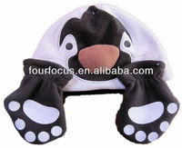 kids cute animal polar fleece hat and hand gloves set