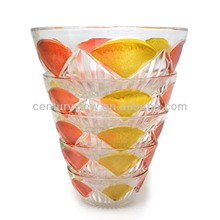 2014 HOT!!! New design 5 pcs glass salad bowl set wholesale