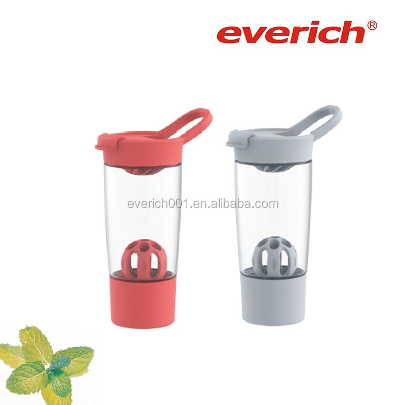 Popular plastic protein shaker/shaker bottle with extra container