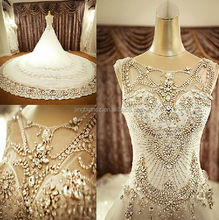 Arabic popular design Real pictures heavy beading crystal bridal wedding dress OW61