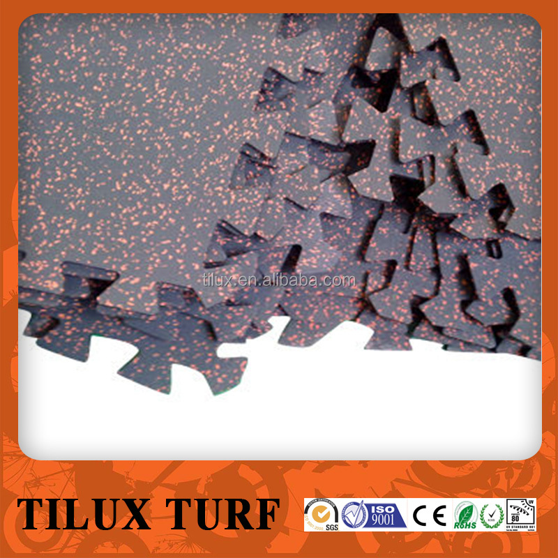 Indoor Interlock Safety Elastical Rubber Tile Flooring Mats