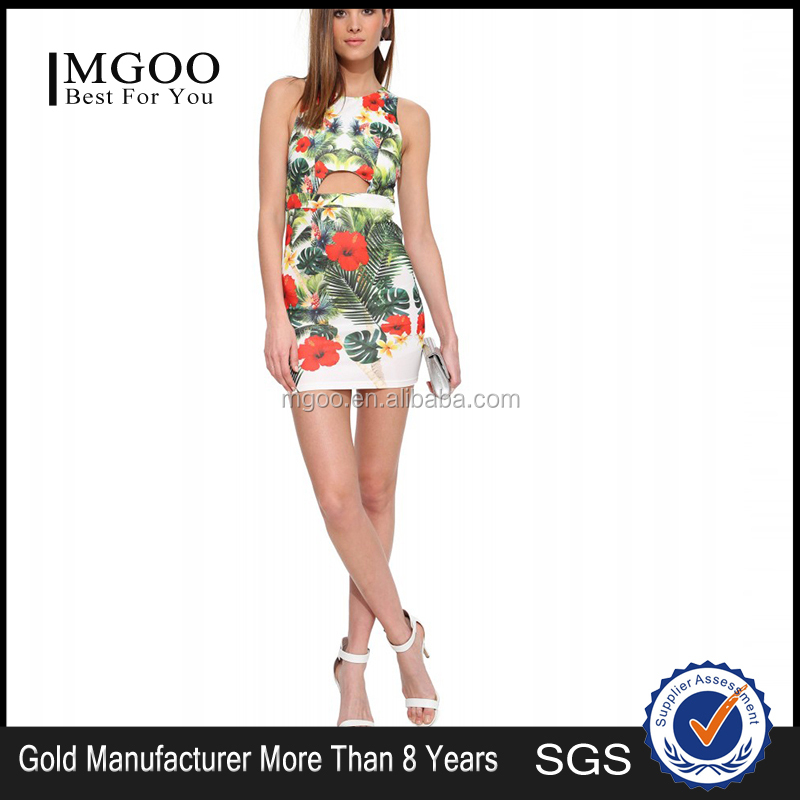 2015 newest design fashion floral printed satin dress MGOO wholesale women sexy bodycon one piece dresses