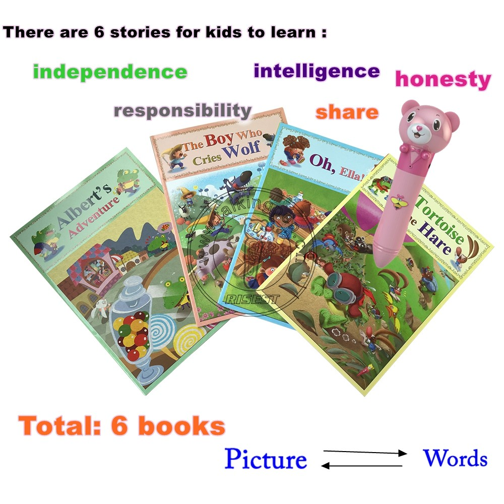 Hot Selling Fun Picture Reader English Books with Point Reading Pen for 3-6 Years Kids
