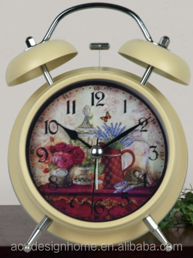CREAM ROUND TABLE TOP DECORATIVE METAL TWIN BELL ALARM CLOCK