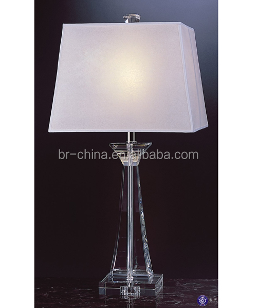 concaved square crystal table lamp
