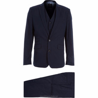 Plain Style Premium Cotton Midnight Blue Three-Piece Suit for Male