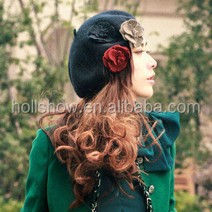 Wholesale Three Flowers Decorated Women Charm Elegant Wool Hat Beret
