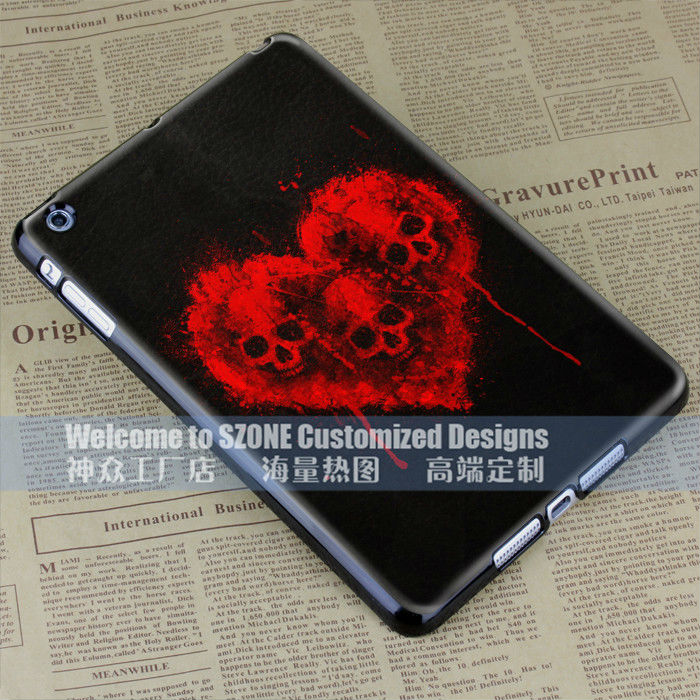 red loving heart black design for ipad mini case