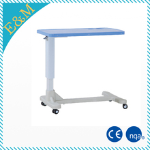 ABS gas spring controlled over bed table hospital dining tables with silent wheels