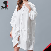loose sexy dress Wholesale Women Long Sleeve Casual 100% Cotton Shirt Fabric Blank Long T-Shirt Dress