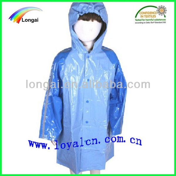 blue long school oeko-tex bright color pvc raincoat