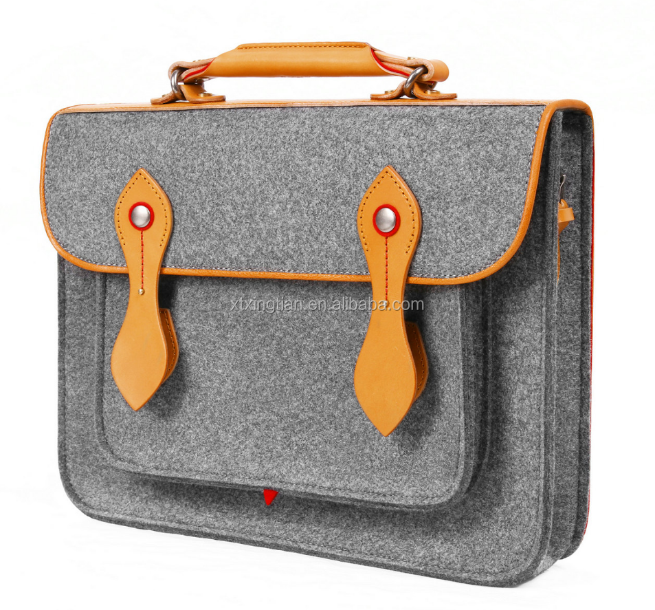 Office Bag Wool Felt with PU Handle Briefcase Style Wool Felt Bag for 13'' Mini Computer