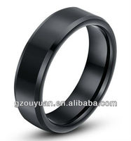 8MM black plated Tungsten Carbide ring, fashion Men's jewelry