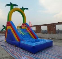 RL Attractive Cute Little Cartoon Inflatable Kids Slide,slide with pool and climbing wall