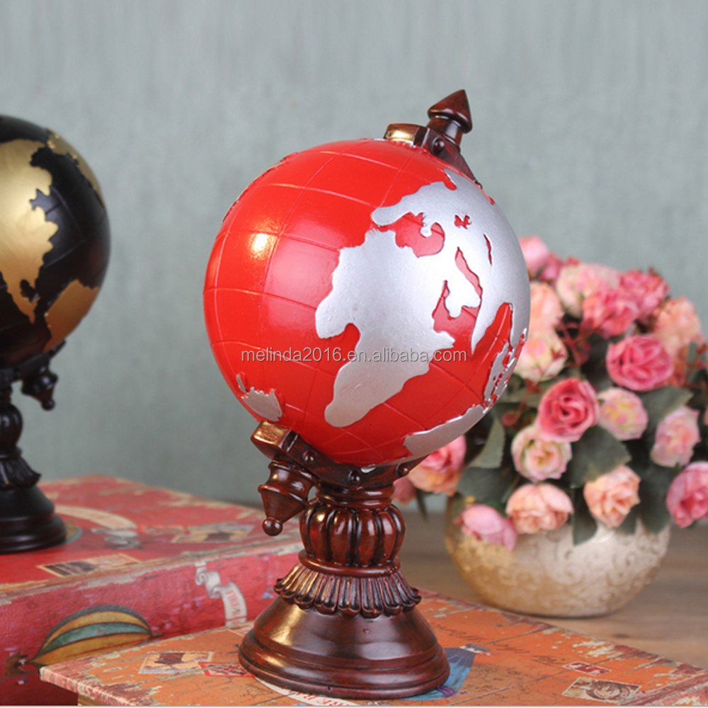 newest high quality european style black/yellow resin globe model for home&desk decoration