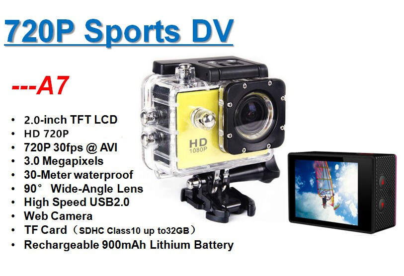 "2017 Hot sale big gift promotion 2.0"" A7 action camera hd720P waterproof 30m"