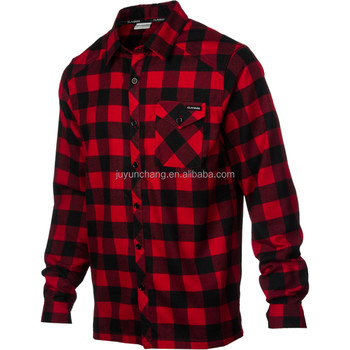Men's 100% cotton check flannel shirt one chest pocket shirt
