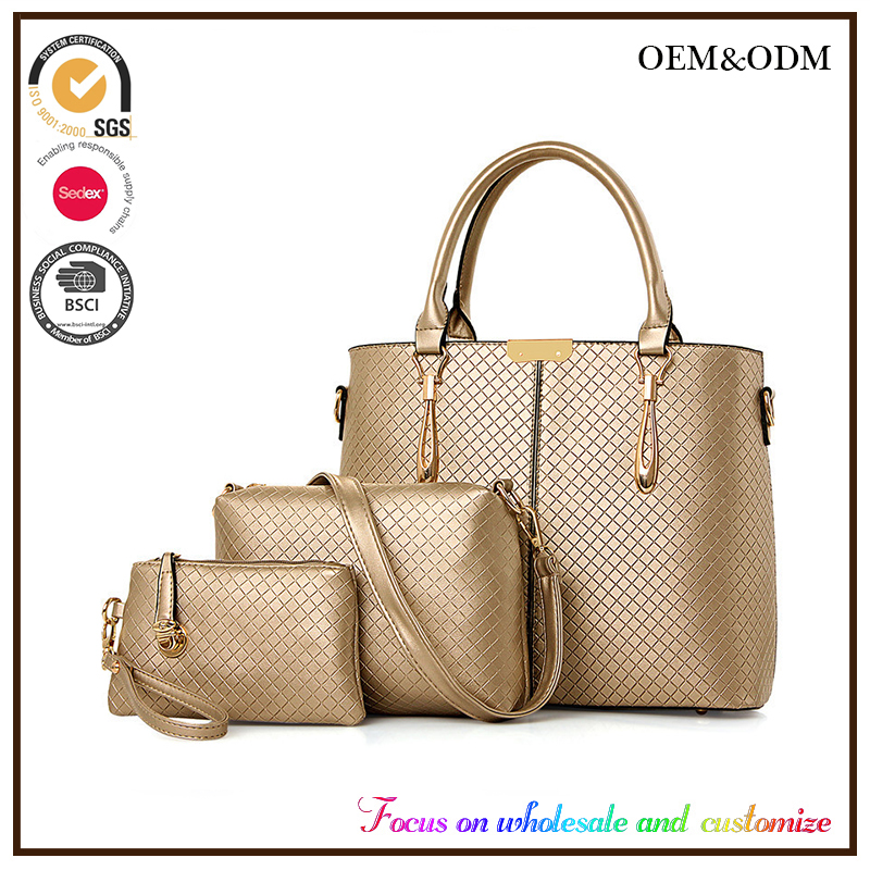 2016 new female middle-aged lady hand bag big bags of the hand shoulder 3 pcs in 1 set female bag taobao Chian supplier