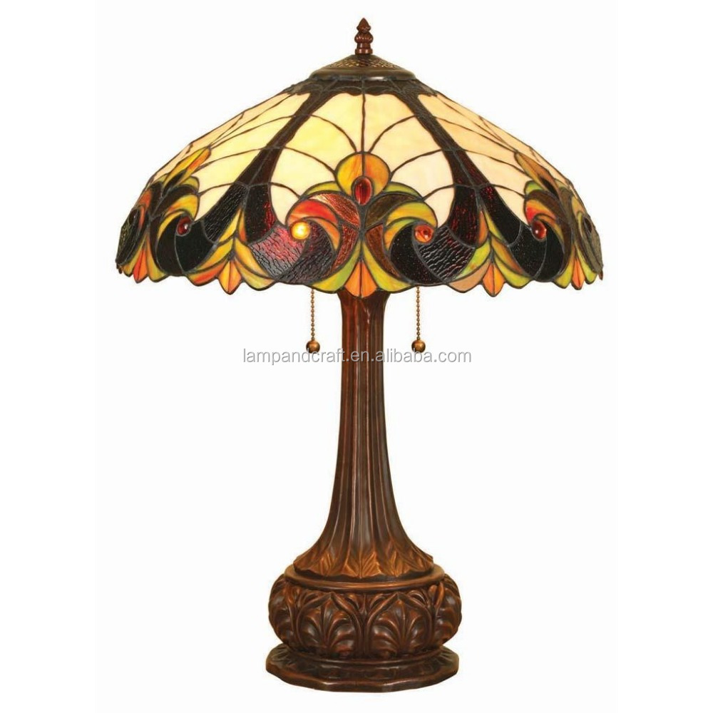 style ul brown tiffany table lamp with round stained glass lamp shade. Black Bedroom Furniture Sets. Home Design Ideas