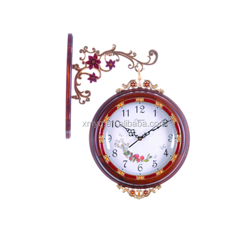 Hot selling wooden Exquisite pattern double sides wall clock