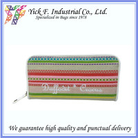 Colorful Stripes Summer feel cotton canvas zipper Long Wallet