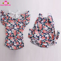 Newest Design Boutique Seersucker Baby Rompers Wholesale Summer Holiday Flutter Sleeve Backless Baby Girl Bubble Ruffle Romper