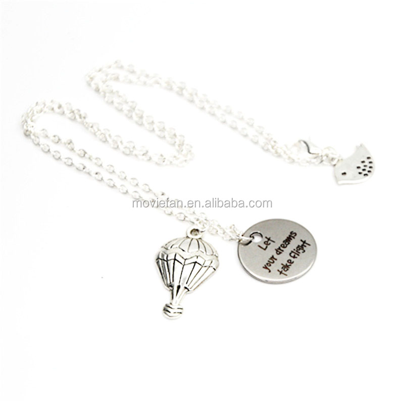Let your dreams take flight necklace balloon with dream flying bird charm pendant necklace