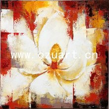 Modern Palette Knife White Orchid Flower Oil Painting on Canvas