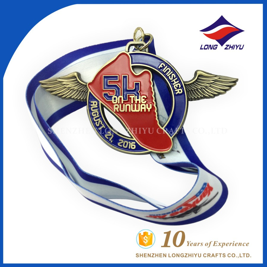 Special and original accompany with wing run hot selling medal