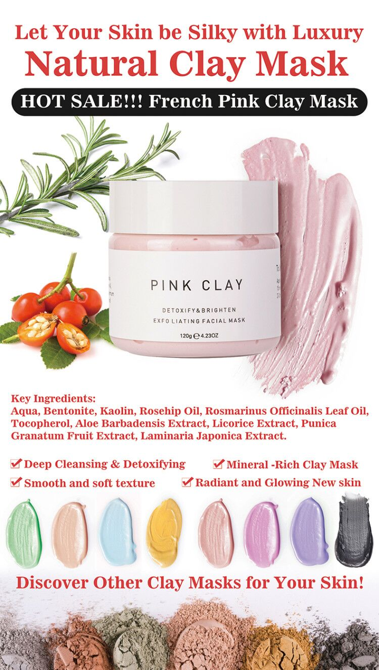 Best Australian Pink Clay Facial Mask Moisturizing Brightening Colorful  Mud Mask
