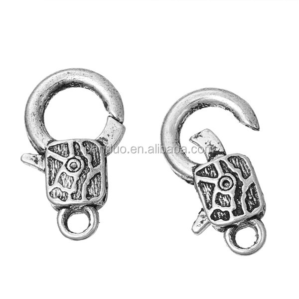 Jewelry Findings Antique Silver Pattern Swivel Snap Lobster Clasp Claw Clasp Hook Charms Wholesale