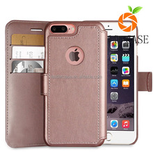 For iPhone 7 plus pink PU leather wallet mobile phone case cover made in China