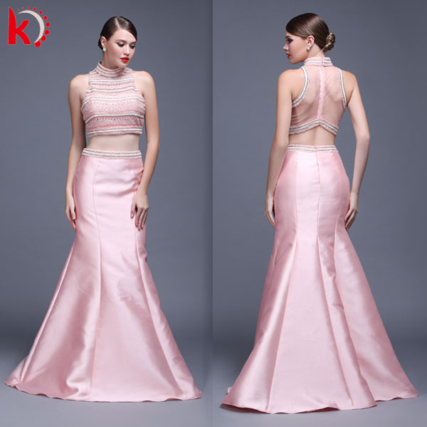 2016 latest design fashion high neck beaded sequin sleeveless see through long puffy two piece prom dress for evening party