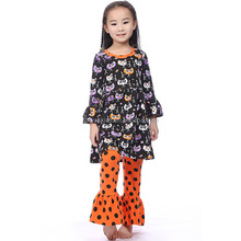 orange ruffle pants halloween outfits baby girl boutique clothing sets
