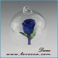 Blue Roes in tiny clear glass ball ornaments flower in tiny hollow glass cover pendant