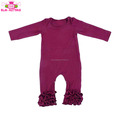 Wholesale Toddler Clothing Fall Long Sleeve Long Leg Blank Wine Jumpsuit Boutique Infant Clothes Baby Triple Ruffle Icing Romper
