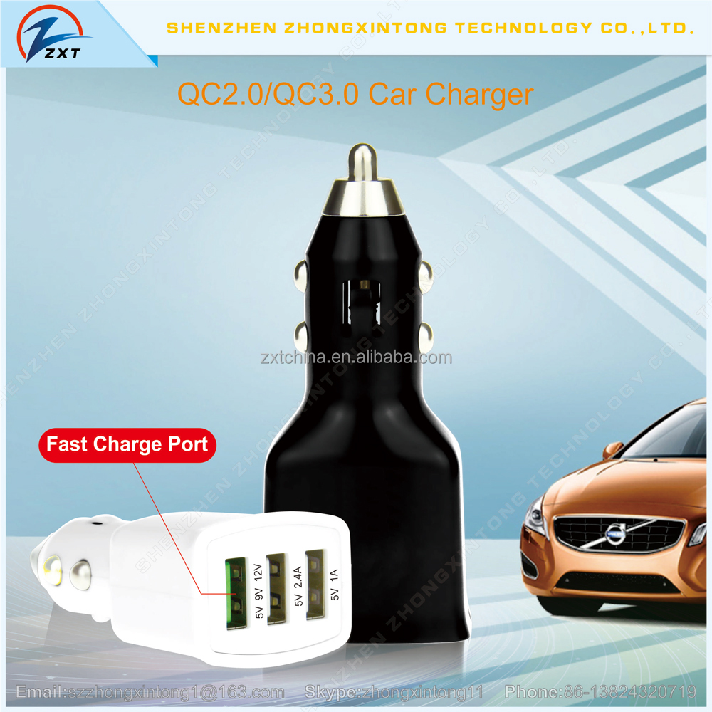5V/9v/12V 39W Smart quick charge qc3.0 3-Port USB Car Charger