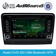 AUDIOSOURCES china factory car dvd for skoda with radio mode, USB, SD to play the song name display, Bluetooth, display