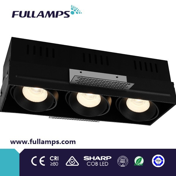 Fullamps original material three head Recesed Grille Light Fixture QR-CB51 3*50W GU5.3 excl/Electronic Transformer AC12V/50Hz