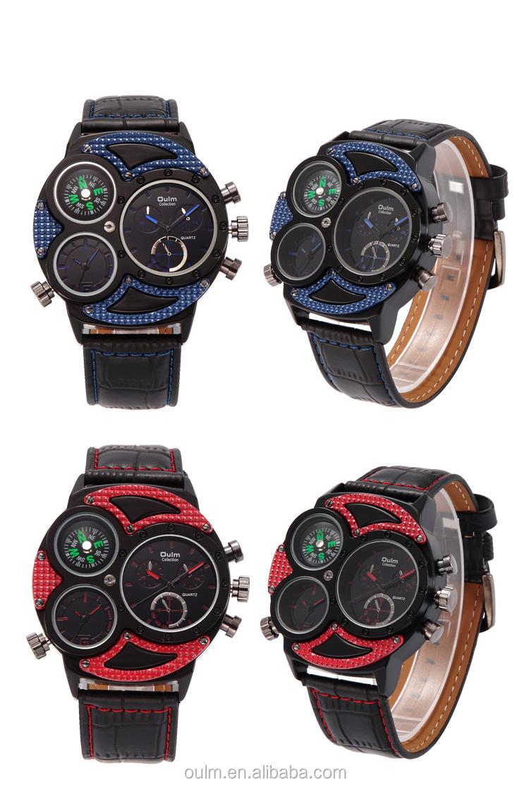 2017new Design Sport Three Mvmt Watch With Three Dial