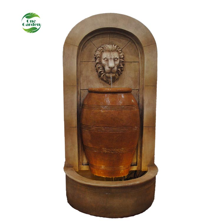Landscaping Big Fiberglass 57 Inch Tall Large Lion Head Wall Garden Fountain Water Feature