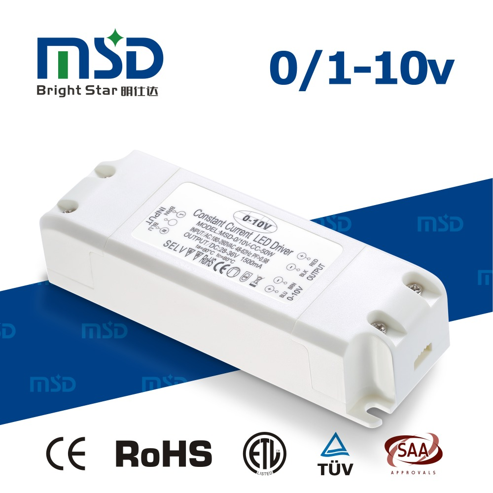 0-10V Driver 50W 350ma/500ma/700ma Constant current dimmable LED Power Supply Non-waterproof
