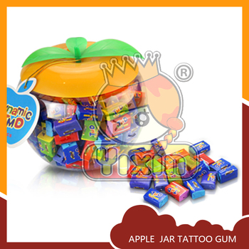 Apple jar fruity flavors sports star tattoo bubble gum
