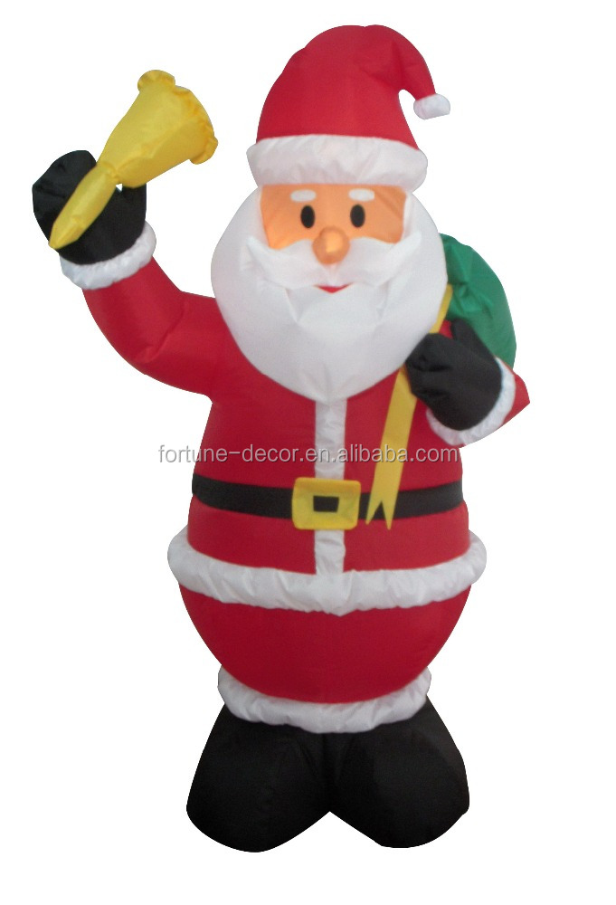 120cm/4ft inflatable santa claus with a small bell in his hand and a backpack on his back for Christmas