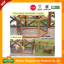 Foldable Wooden Frame Stainless Steel Pet Fence