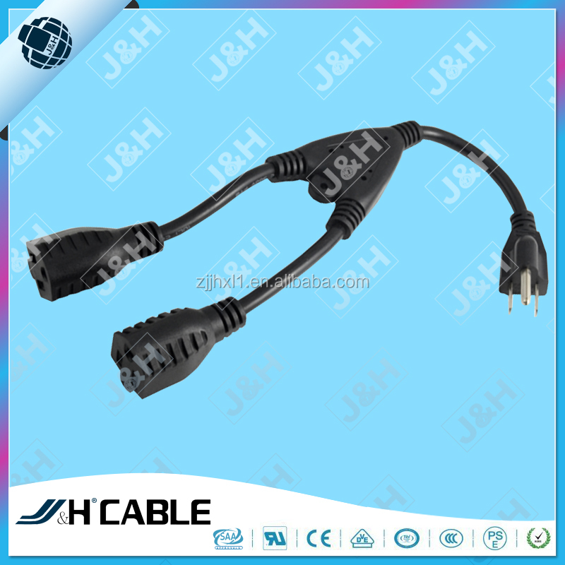 US Y Type Splitter Power Adapter Cord USA 5-15P to 2X 5-15R 3Pin Male To Double Femaley y type ac power cord