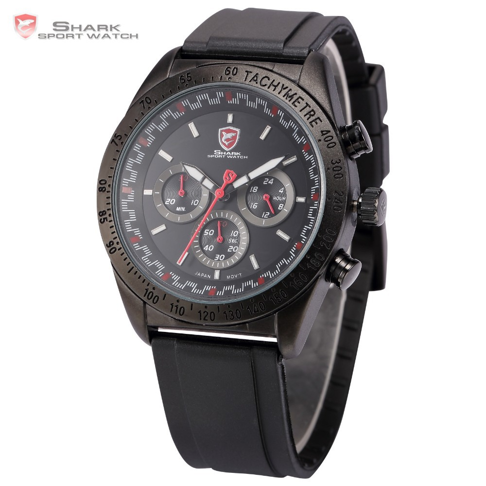 Swell Shark Mens Chronograph 24 Hours 6 Hands Rubber Quartz Sport Wrist Watch